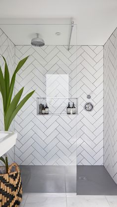 35 modern bathroom decor ideas match with your home design style page 43 Loft Bathroom, Ensuite Bathrooms, Bedroom Loft, Bathroom Renovations, Dark Floor Bathroom, Metro Tiles Bathroom, Loft Ensuite, Bathroom Showers, Bathroom Tile Designs