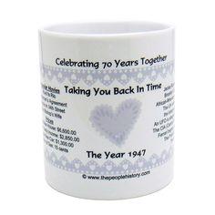 1947 70th Anniversary Mug  Celebrating 70 Years Together