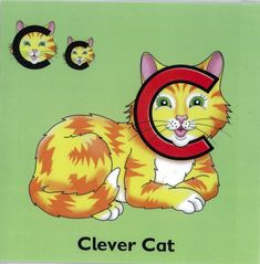 Clever Cat, from 'Letterland' Alphabet Words, Alphabet Phonics, Phonics Lessons, Grammar Activities, Kindergarten Reading, Kindergarten Worksheets, Letterland Costumes, Abc Chart, Book Week Costume