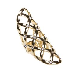 Polished metal adjustable statement ring with inset stones  JUMP THE FENCE