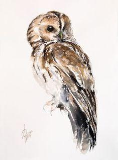 Andrzej Rabiega - Paintings for Sale Owl Watercolor, Tawny Owl, Sheep Art, Peregrine Falcon, Bird Artwork, Paintings For Sale, Lovers Art, Art Tutorials, Pet Birds