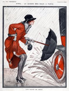 Art deco La Vie Parisienne, G Pavis. Love this for so many metaphorical reasons. Wish it was in blue accents for my bedroom. Umbrella Art, Under My Umbrella, Art And Illustration, Art Vintage, Vintage Posters, Art Deco Stil, Retro Poster, Kunst Poster, 1920s Art