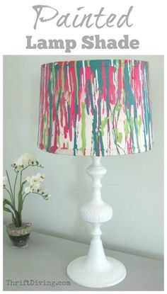 This DIY lamp makeover was upcycled from a $5.00 hooka and a spray painted lampshade that had dribbles of paint for a unique, colorful look! - Thrift Diving