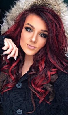 62 Trendy Hair Color Highlights Red Black Haircolor Source by merrillhewgill Hair makeup looks Hair Color Highlights, Red Hair Color, Cool Hair Color, Black To Red Hair, Trendy Hair Colors, Black Hair With Red Highlights, Red Hair With Purple, Black Highlighted Hair, Nice Hair Colors