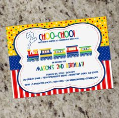 Colorful TRAIN - Birthday Party Invitations - Printable Design - Primary Colors. $12.99, via Etsy.