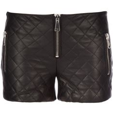 FILLES A PAPA Padded leather shorts ❤ liked on Polyvore