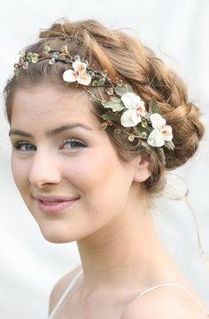 Woodland Wedding Hair Wreath with Vintage Velvet Pansies