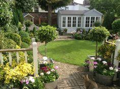 View of new Summerhouse from Deck Steps. Summer House Garden, Summer Houses, Deck Steps, Garden Studio, Log Cabins, Bliss, Sidewalk, Gardens, Plants