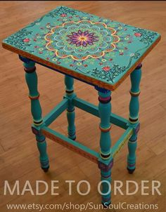 Hand-painted solid wood accent table size 17 x by SunSoulCreations - . Hand-painted solid wood accent table size 17 x by SunSoulCreations Source by Funky Painted Furniture, Painted Chairs, Paint Furniture, Repurposed Furniture, Furniture Projects, Furniture Makeover, Cool Furniture, Furniture Design, Painted Tables