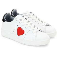 Chiara Ferragni Leather Heart Sneakers (15,425 DOP) ❤ liked on Polyvore featuring shoes, sneakers, leather low top sneakers, leather trainers, lacing sneakers, rubber sole shoes and low top
