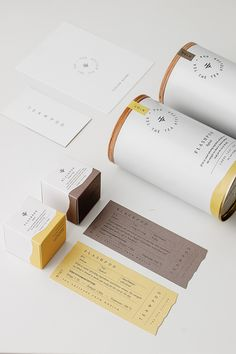 Minimalist, Japanese-inspired tea brand with a symbolic logomark and soft color palette. White tea cans with minimal coloring and custom wood lids. Beautiful work by Studio Born. Skincare Packaging, Food Packaging Design, Luxury Packaging, Coffee Packaging, Packaging Design Inspiration, Brand Packaging, Custom Packaging, Packaging Ideas, Tea Design