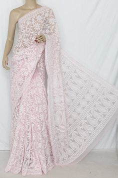 Baby Pink Allover Hand Embroidered Lucknowi Chikankari Saree (With Blouse - Georgette) 13741 , Buy Georgette Chikankari Sarees online, Pure Georgette Chikankari Sarees, Trendy Georgette Chikankari Sarees ,Exclusive Collection , online shopping india, sarees , sweets, cameras, shoes, watches, appliances, apparel, sweets online in india | www.maanacreation.com