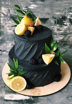 wedding cakes black Black lemon cake for your wedding Pretty Cakes, Beautiful Cakes, Amazing Cakes, Wedding Cake Display, Wedding Cakes, Bolo Cake, Gateaux Cake, Cakes For Men, Piece Of Cakes
