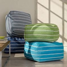"Mirage Stripe Pouf Cover | The Company Store $188 24 x 24 x 13""H"