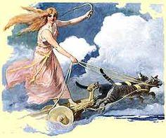 """Frøya (ou Freya ou Freia) é a guia das Valquírias ou a """"deusa"""" mãe num dos ramos (Vanir) da mitologia nórdica. É a deusa da sensualidade, do amor e da magia. Tinha que estar ligada ao começo da Luz."""