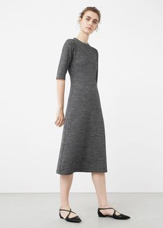 Длинное меланжевое платье | MANGO МАНГО