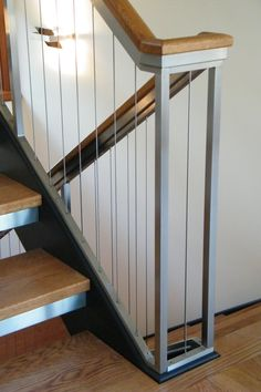 Stainless Steel Cable Railing – Chicago Copper & Iron Works Inc. Stainless Steel Stair Railing, Cable Stair Railing, Fixer Upper, Steel Railing Design, Stainless Steel Sheet, Steel Stairs, Stairways, Wrought Iron, Railing Ideas