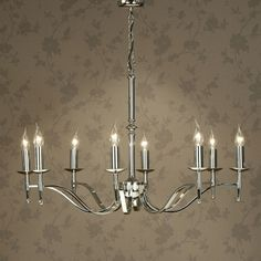Elegant 8 arm chandelier in a stunning polished nickel finish. Handmade in England to the highest quality.