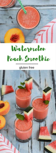 This Watermelon Peach Smoothie will cool you down on these last hot days of summer. Fresh, hydrating and satisfying. {gluten free, vegan} desserts/vegan recipes/nutrition and health/easy vegan lunches/healthy dessert recipes/vegan breakfasts/ Yummy Drinks, Healthy Drinks, Healthy Eating, Yummy Food, Healthy Recipes, Healthy Food, Tasty, Cooking Recipes, Nutrition Drinks