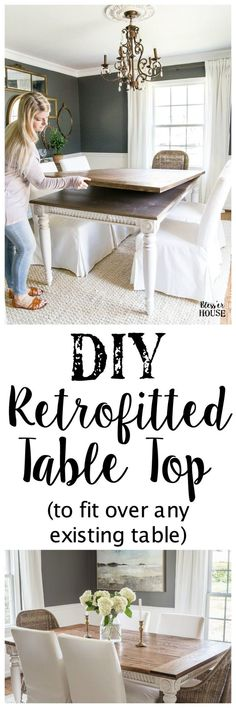 DIY Retrofitted Table Top to fit over any existing table - Bless'er House A tutorial for how to build a retrofitted table top to fit over any existing table using Minwax Dark Walnut stain. #build #furniturebuilding #tabletop #diningtable #diytable #farmhousetable