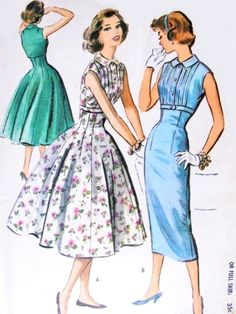 1950s  Rockabilly Slim or Full Skirt Dress Pattern McCalls 4009 Vintage Sewing Pattern Empire Fit and Flare Style Bust 34