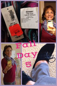 Fall Day 5 10/18/14: Loft long sleeved tee, Dress Barn gray skinny jeans, Old Navy paisley scarf, silver earrings from Charming Charlie's, silver cuff from Metra, black booties from Payless.