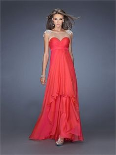 A-line Scoop Neckline Low V back Chiffon Prom Dress PD2696