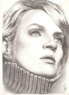 Uma Thurman by rudegirleva {from Poland} ~ pencil portrait