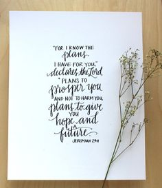 """11x14 PRINT Hand Inked Jeremiah 29:11 """"I know the plans I have for you..."""""""