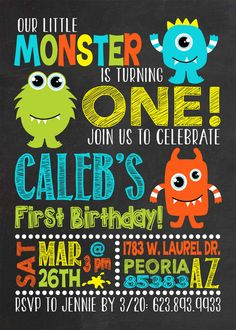 Monster Birthday Invitation Little Monster Invitation Monster