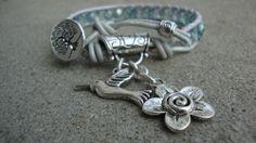 Silver Teal Bead Wrap Leather Bracelet with Tree of Life Charm Bracele | maddaisyjewelry - Jewelry on ArtFire