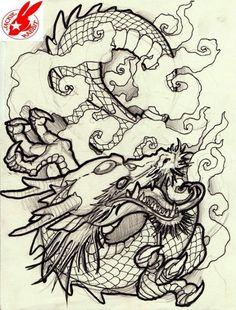 Oriental Dragon Tattoo Designs Chinese Dragon by Oriental Dragon Tattoo Designs Chinese Dragon By. Oriental Dragon Tattoo Designs Chinese Dragon By. Dragon Japanese Tattoo, Japanese Tattoo Art, Japanese Sleeve Tattoos, Japanese Art, Chinese Dragon, Traditional Japanese, Tattoo Drawings, Art Drawings, Dragons