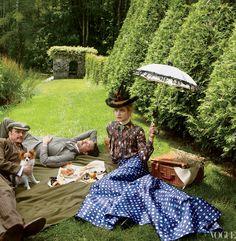 model natalia vodianova as Edith Wharton for Vogue...at EW's summer home, The Mount.