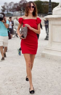 slippers + little red dress