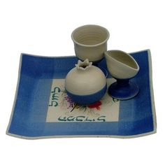 Blue and White Ceramic Havdalah Set with Turquoise Hebrew Text and Seven Species