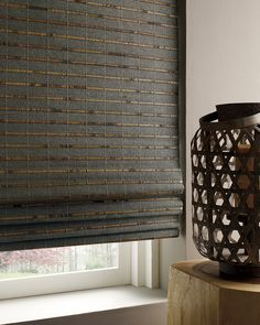Design a home inspired by nature with the organic beauty of Provenance® Woven Wood Shades. The winner of the Best New Style Concept 2015 WCMA (Window Covering Manufacturers Association) Award in the Roman, Roller and Pleated Shade category. Bamboo Blinds, Wood Blinds, Curtains With Blinds, Blinds For Windows, Valances, Roman Blinds, Woven Wood Shades, Bamboo Shades, Hunter Douglas Blinds