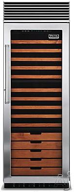 Viking Professional Series VCWB301 30 Inch Tri-Zone Wine Cellar with 150-Bottle Capacity, 15 Coated Wine Shelves, 2 Convertible Display Shelves, Low-Intensity Lighting, Door Alarm and Door Lock