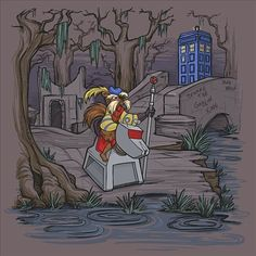 Jim Henson's Labyrinth, Sir Didymus, a brave knight defends the Tardis By: Karen Hallion Serie Doctor, Thing 1, Animated Cartoons, Tardis, Large Prints, Metal Art, Note Cards, Geek Stuff, Canvas Prints