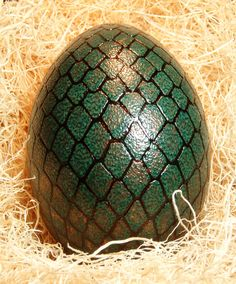 Dragon egg in green and bronze made from real emu by HankyPysanky, $98.00