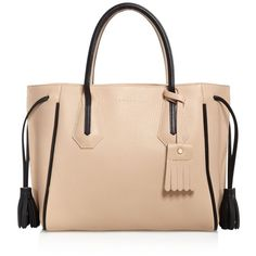 Longchamp Small Penelope Color Block Tote ($760) ❤ liked on Polyvore featuring bags, handbags, tote bags, genuine leather handbags, color block tote, tote purse, genuine leather tote bag and tote handbags