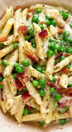 Bacon and pea mac and cheese