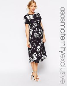 f05589e55994c Pennis Enlargement - ASOS Maternity Midi Textured Skater Dress In Mono  Floral - How To Increase Your Penis Size Naturally Without Surgery