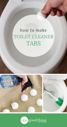 Learn how to make your own homemade toilet cleaner tabs. Drop one into the toilet, let it fizz, then scrub for an all-natural clean!