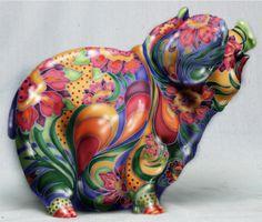 floral hand-painted piggy bank-Cindy Lysonski design