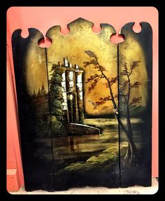 Hand painted fire place screen with shell inserts, $158.  Gaslamp Antiques, booth B106.