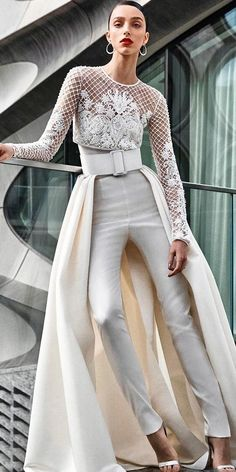 The new Naeem Khan wedding dresses have arrived! Take a look at what the latest Naeem Khan bridal collection has in store for newly engaged brides. Wedding Pantsuit, Slit Wedding Dress, Gorgeous Wedding Dress, Fall Wedding Dresses, Bridal Dresses, Bridal Pants, Lace Wedding, Wedding Bride, Wedding Ceremony