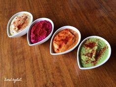Humus, receta básica y algunas variantes (pimiento, remolacha y guisantes)