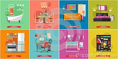 Home Interior Vector Illustration In Flat Style.  - Download From Over 50 Million High Quality Stock Photos, Images, Vectors. Sign up for FREE today. Image: 74348946