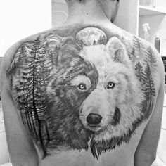 Yin Yang Wolf Mens Forest Upper Back Tattoos
