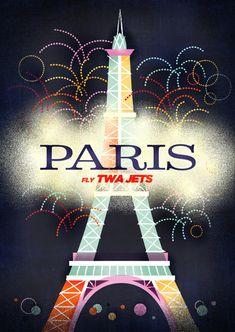 Très beaux voyages à un Paris animé.  Tour eiffel pastel entourée de feux d'artifice.  Affiche de Voyage de cru de TWA  Paris - Sol Linero